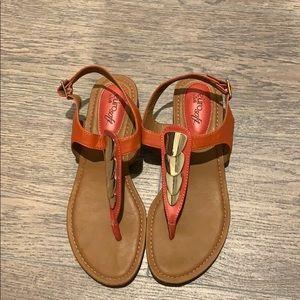Orange and gold sandals